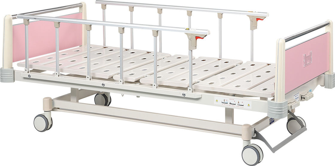Two Function Pediatric Hospital Bed , Pink Movable Hospital Bed With Wheels